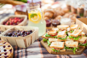 Outdoor picnic scene with food on blanket